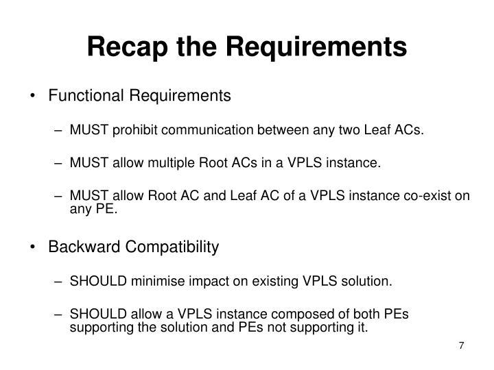 Recap the Requirements