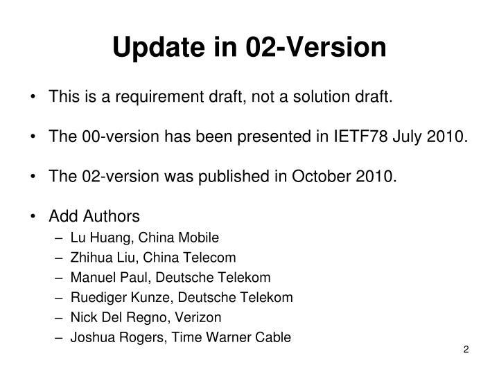 Update in 02 version