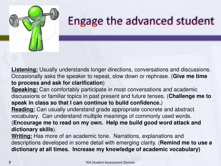 Engage the advanced student