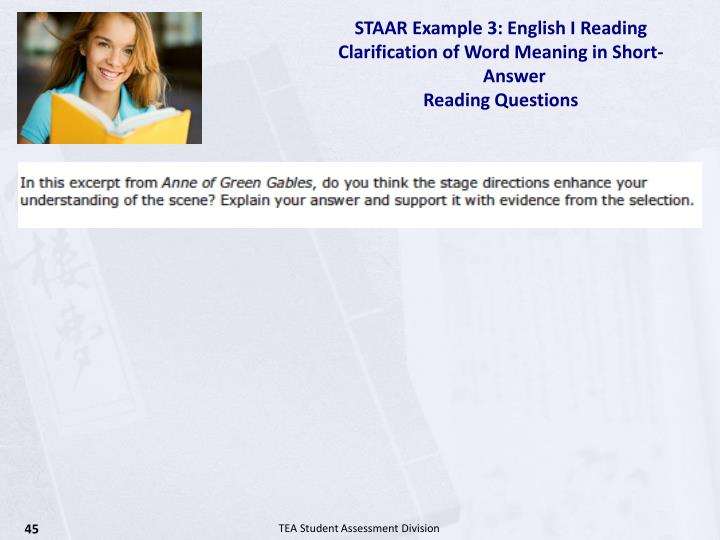 STAAR Example 3: English I Reading