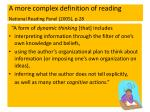 a more complex definition of reading national reading panel 2005 p 28