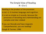 the simple view of reading r d x c