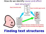 how do we identify cause and effect text structure