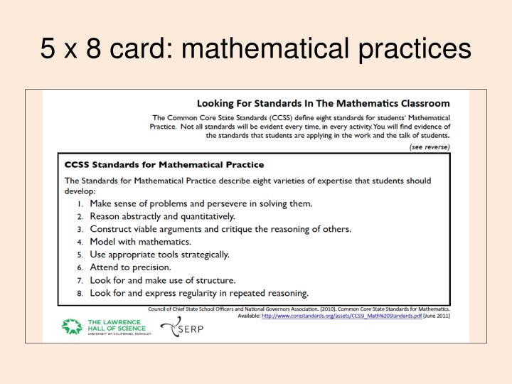 5 x 8 card: mathematical practices