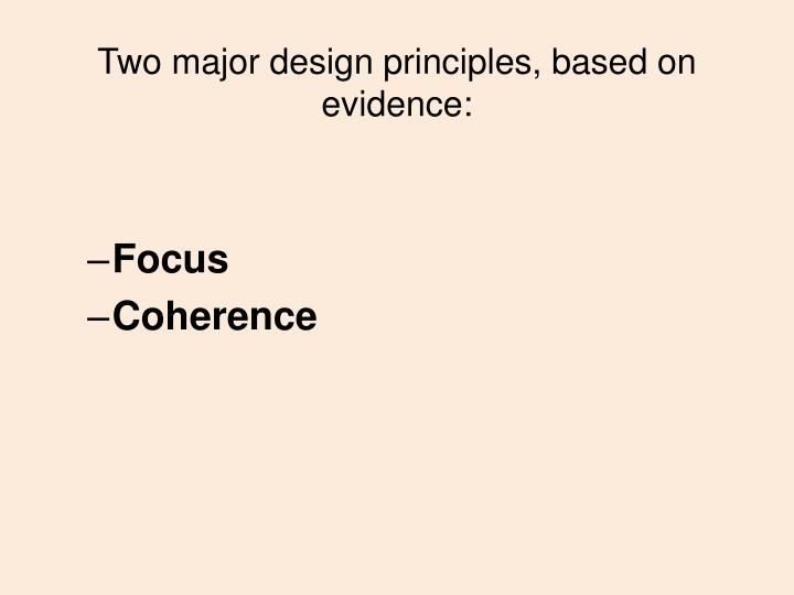 Two major design principles, based on evidence: