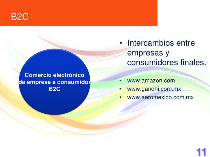Intercambios entre empresas y consumidores finales.