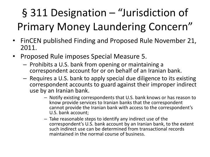 "§ 311 Designation – ""Jurisdiction of Primary Money Laundering Concern"""