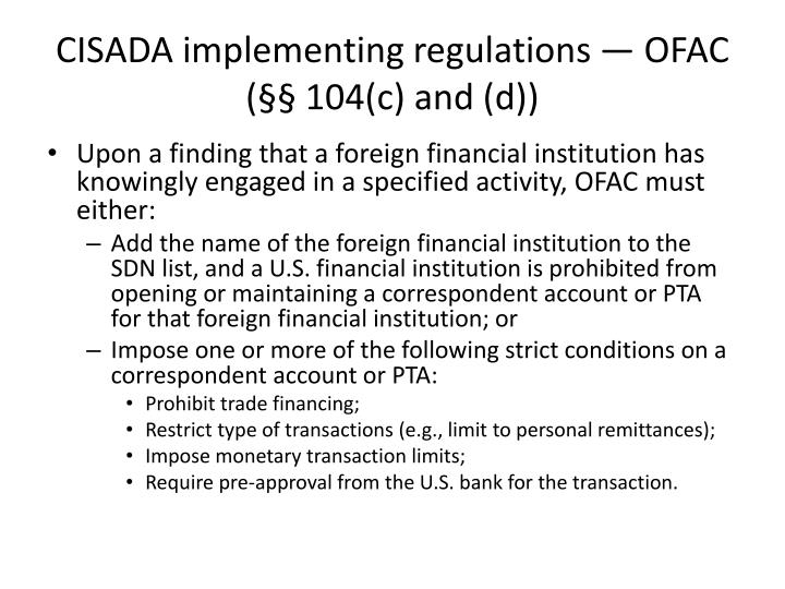 CISADA implementing regulations —