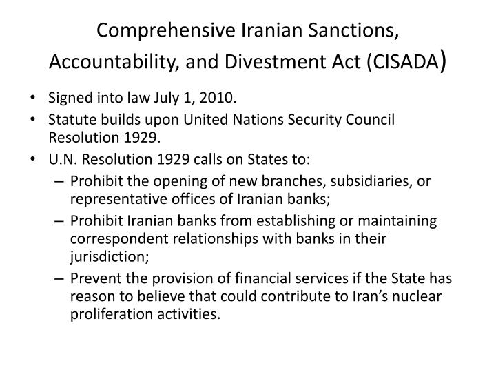 Comprehensive Iranian Sanctions, Accountability, and Divestment Act (CISADA