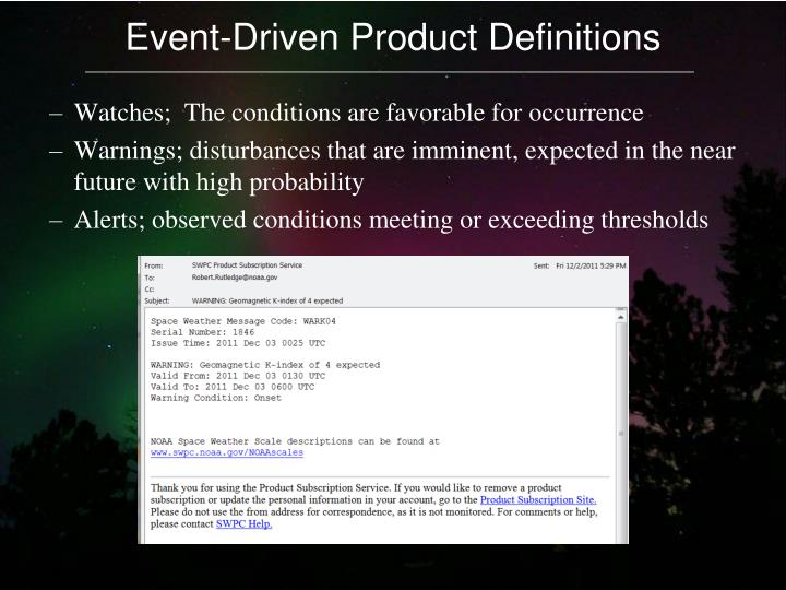 Event-Driven Product Definitions
