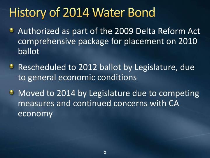History of 2014 water bond