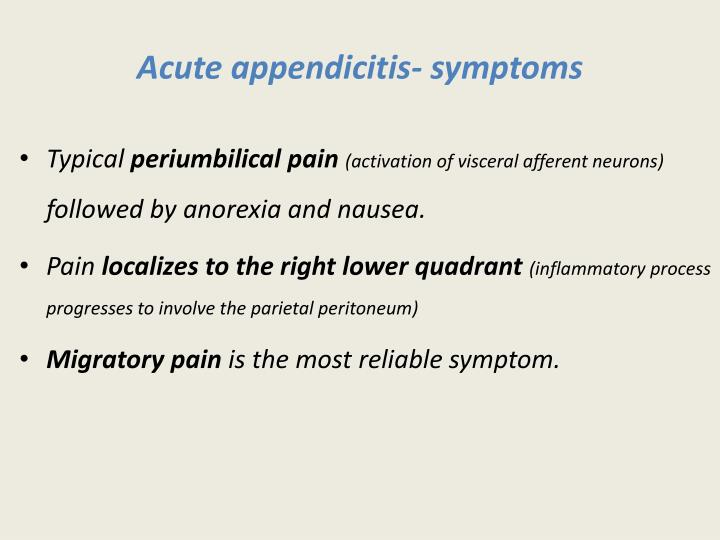 Acute appendicitis- symptoms