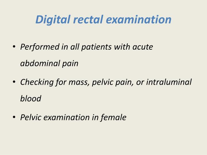 Digital rectal examination