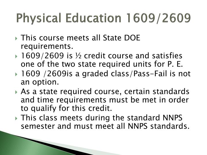 Physical Education 1609/2609