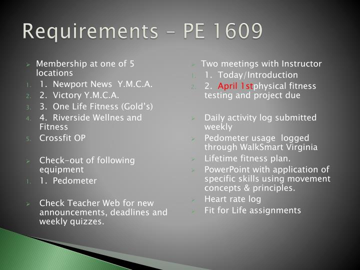 Requirements – PE 1609