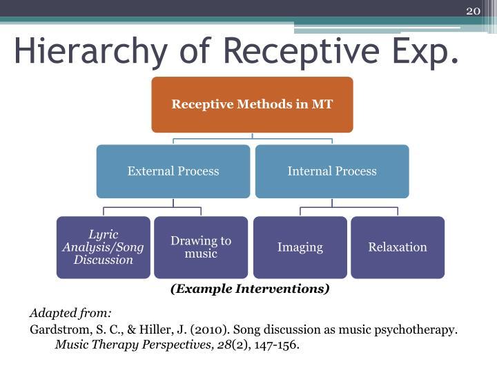 Hierarchy of Receptive Exp.