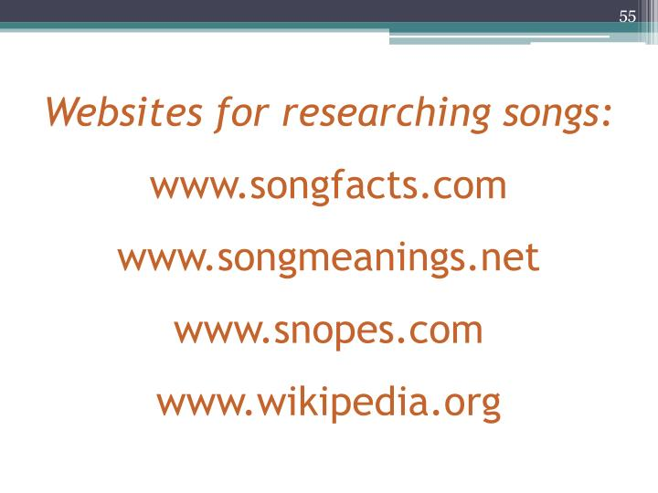 Websites for researching songs: