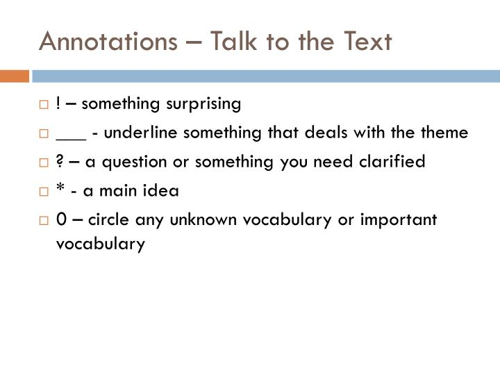 Annotations talk to the text