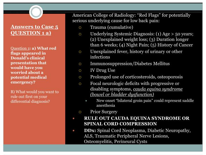 """American College of Radiology: """"Red Flags"""" for potentially serious underlying cause for low back pain:"""
