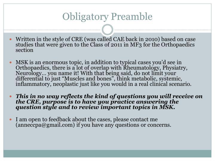 Obligatory preamble