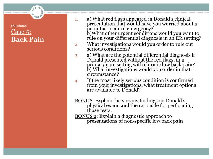 a) What red flags appeared in Donald's clinical presentation that would have you worried about a potential medical emergency?