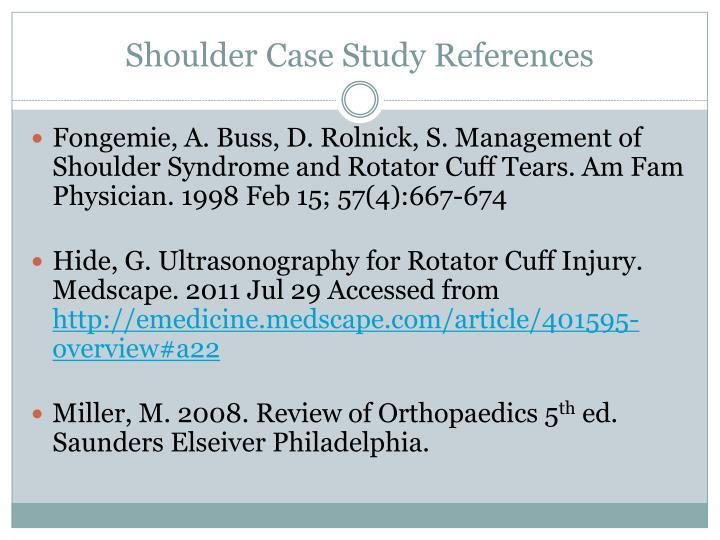Shoulder Case Study References
