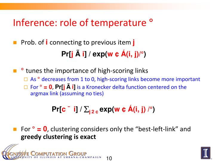 Inference: role of temperature