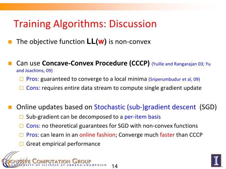 Training Algorithms: Discussion