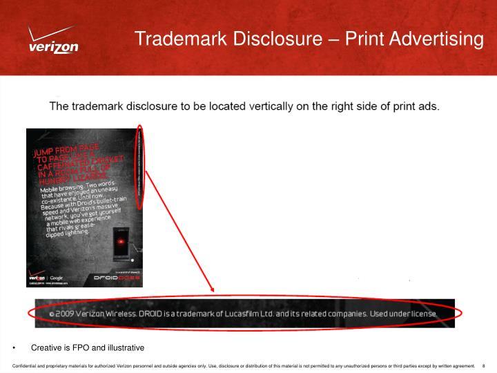 Trademark Disclosure – Print Advertising