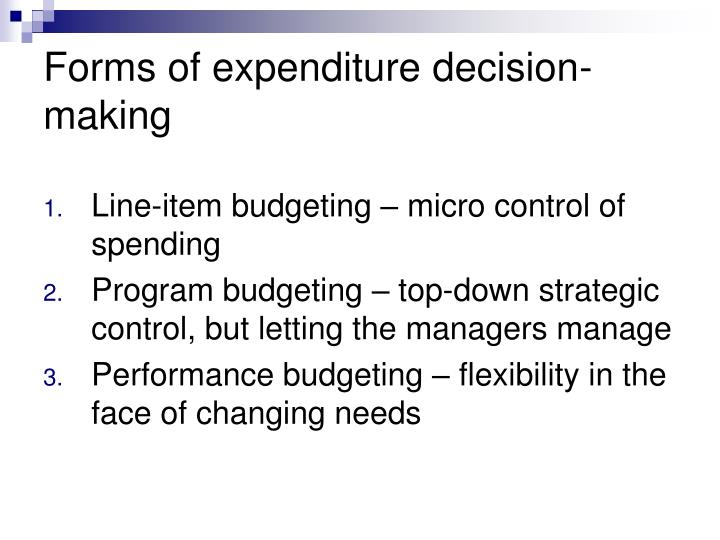 Forms of expenditure decision-making