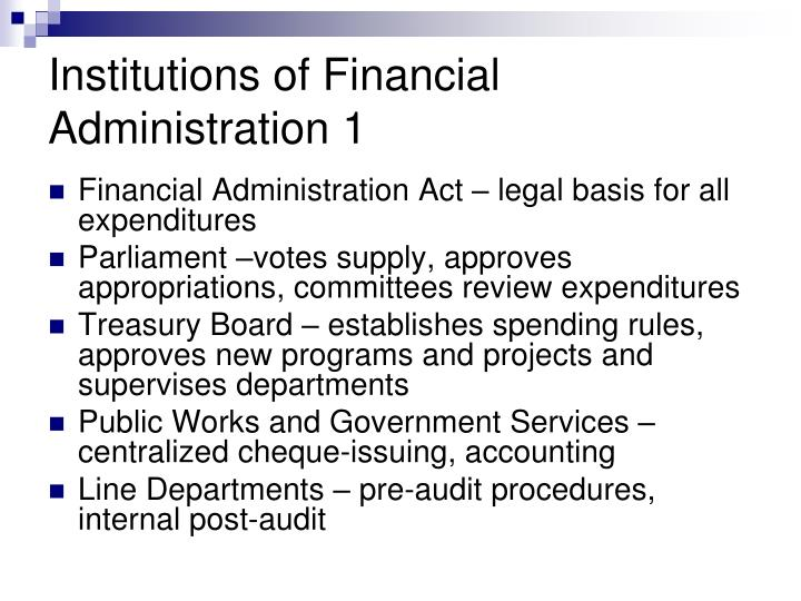 Institutions of Financial Administration 1