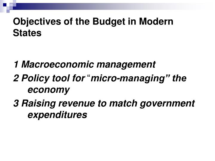 Objectives of the Budget in Modern States