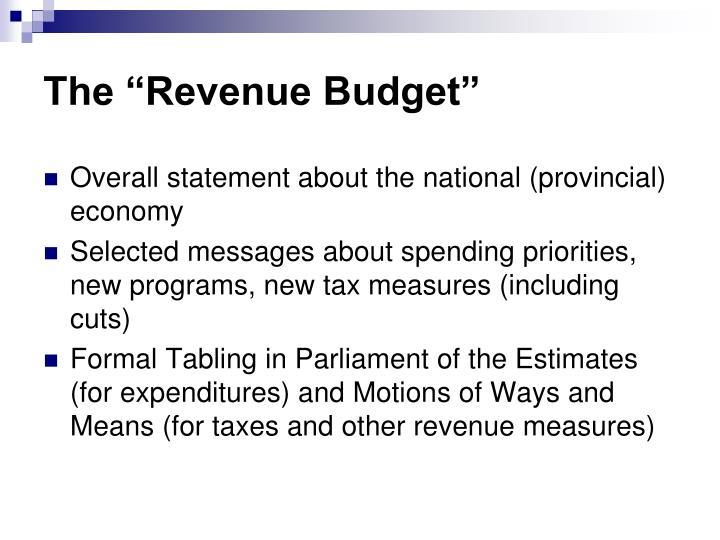 """The """"Revenue Budget"""""""