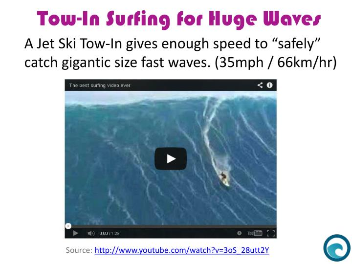 "A Jet Ski Tow-In gives enough speed to ""safely"""