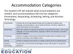 accommodation categories
