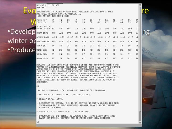 Evolution – Experimental O'Hare Winter Precipitation Outlook
