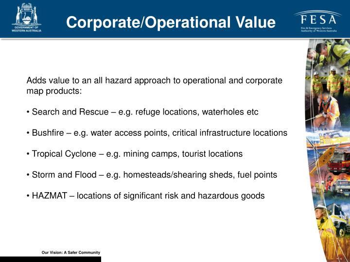 Corporate/Operational Value