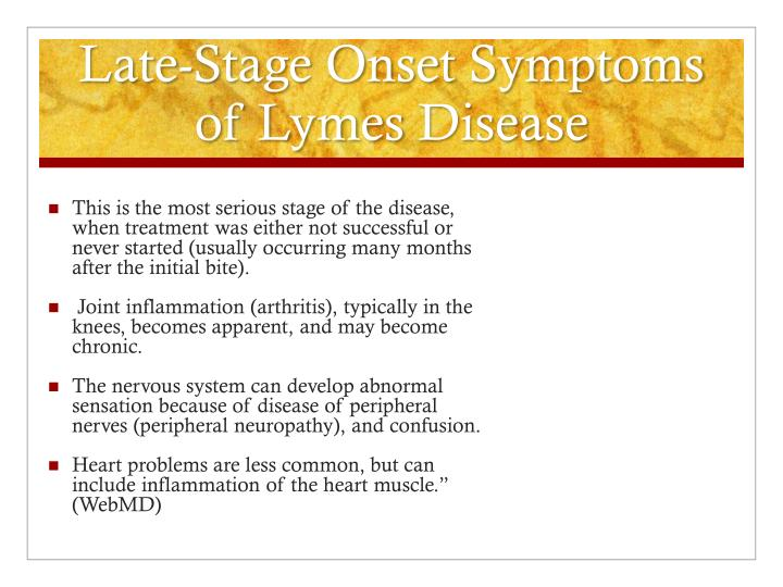 Late-Stage Onset Symptoms of