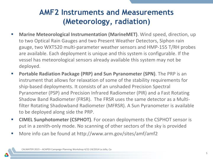 AMF2 Instruments and Measurements