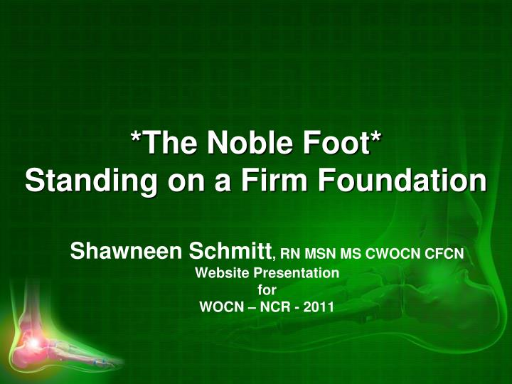 The noble foot standing on a firm foundation