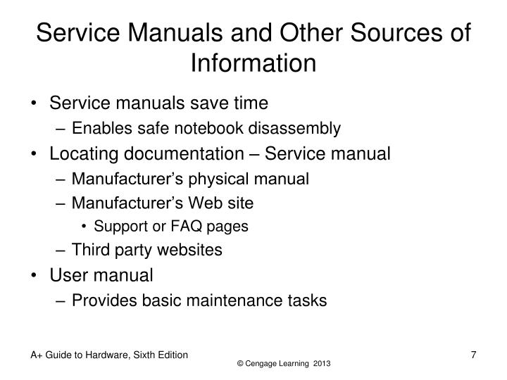 Service Manuals and Other Sources of Information