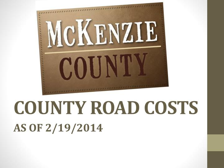 County road costs