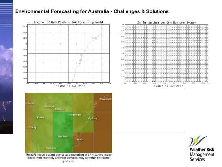 Environmental Forecasting for Australia - Challenges & Solutions