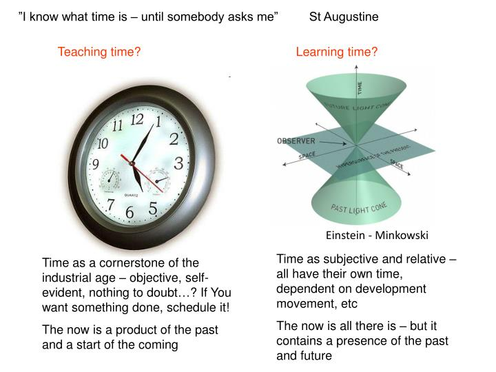 """I know what time is – until somebody asks me""         St Augustine"