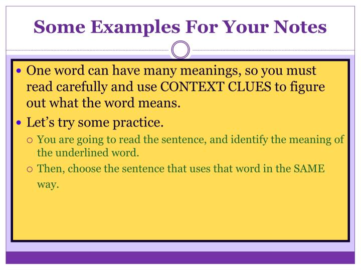 Some Examples For Your Notes