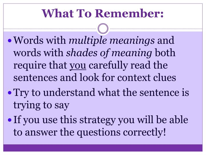 What To Remember: