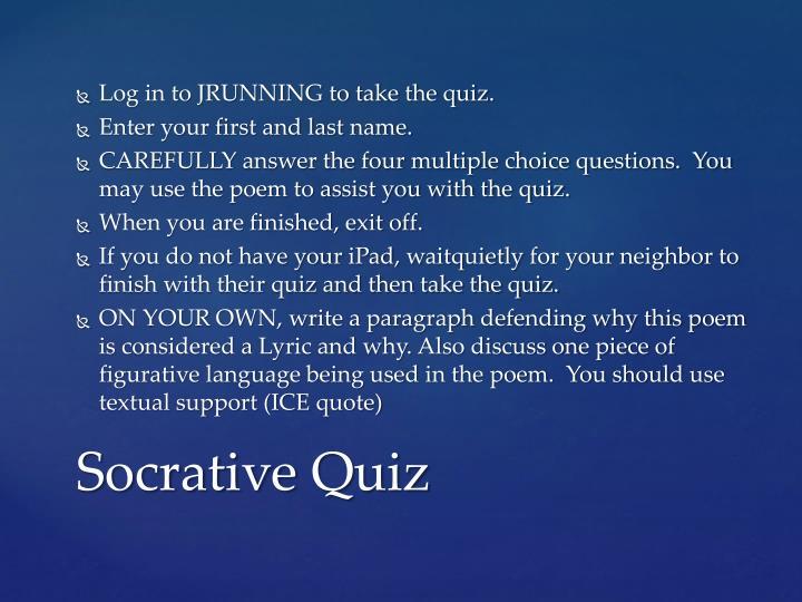 Log in to JRUNNING to take the quiz.