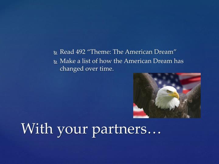 """Read 492 """"Theme: The American Dream"""""""