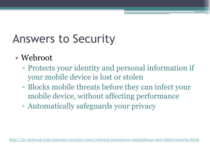 Answers to Security