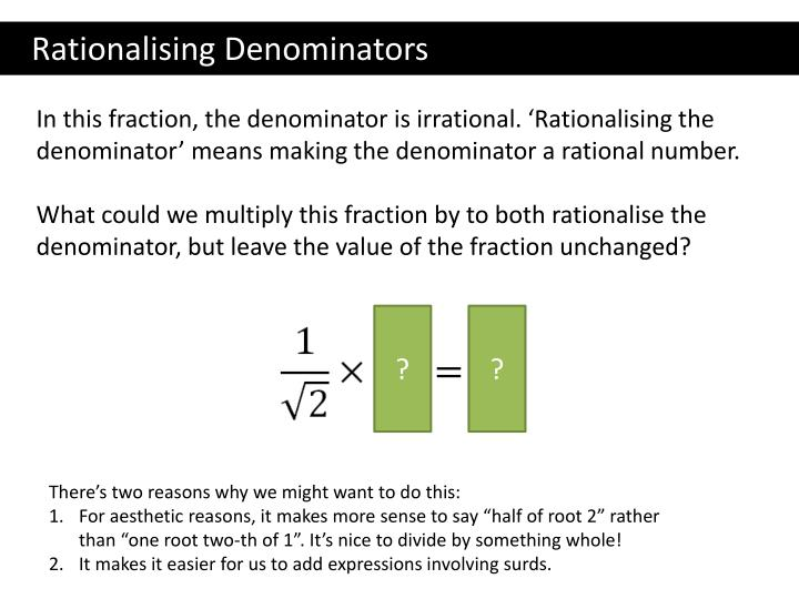 Ppt Gcse Irrational Numbers And Surds Powerpoint Presentation